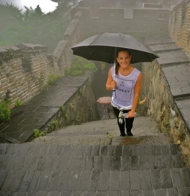 A rainy climb on the Great Wall of China.