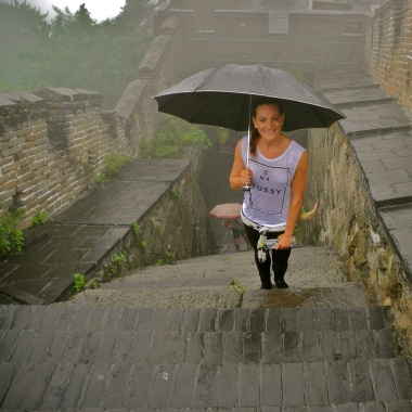 A rainy climb on the Great Wall of China.
