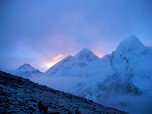 Everest sunrise, 1st glimpse