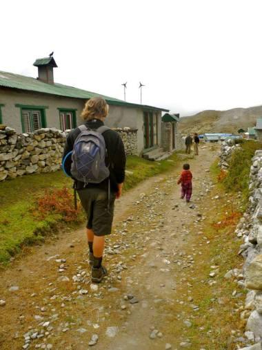 Scott wandering through the village of Dingbouche!
