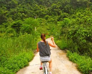 Cycling in Vietnam.
