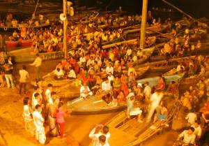 Evening Arti ceremony, on the banks of the Ganges.