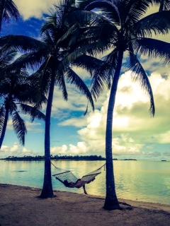 Hammock life @ Sunset at the Aitutaki Lagoon resort.