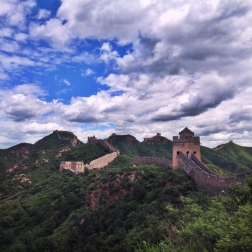 The Great wall of China, stretching out into the horizon.