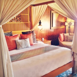 A bed made for a princess at Ayana Resort & spa, Jimbaran Bay.
