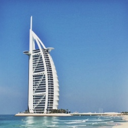The view of the Burj Al Arab, from Jumeirah Beach.